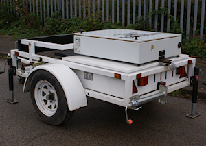 Vehicle Activated Speed Display Trailer from Littlewood Hire lowered for towing